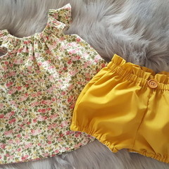 Girls Mustard High Waisted Bloomers / BritchesSize 1, 2, 3, 4, 5 & 6