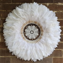 White Feathers Juju Hat Wall Hangings