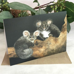 Greater Gliders greeting card Australian wildlife art Acrylic painting