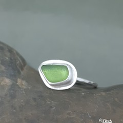 Handmade Sterling Silver and natural Sea Glass Ring