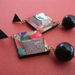 Saul - Collage eardrop with black bead