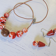 Necklace set - The Power to Please N326W. Hand-painted wood, hand-carved wood.