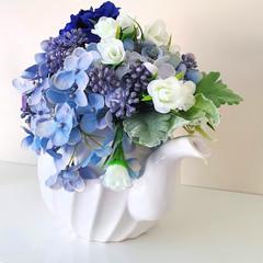 Mothers Day Gift  - Teapot with Blue Silk Flowers - Teapot  Flower Arrangement