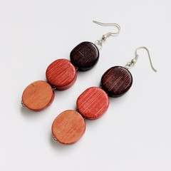 Wooden Beaded Brown Yellow and Orange Earrings
