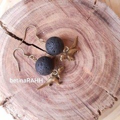 Lava Stone Diffuser Earrings with T-Rex Charm - Free Aus Postage