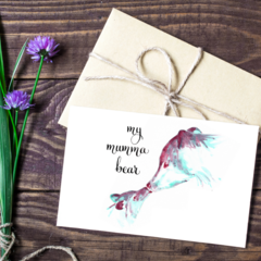 Mother's Day Card A6 - Mumma Bear - Calligraphy and Watercolour Print
