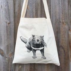 Screen printed Tasmanian devil calico shoulder bag