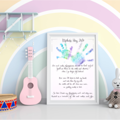 Mother's Day A4 Print - Fingerprints Poem Template- Personalise with handprints