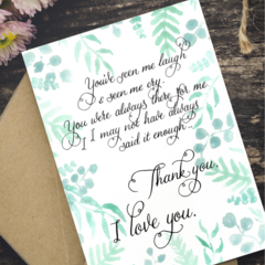 Mother's Day Card - Say It More Often - Calligraphy & Watercolour Print