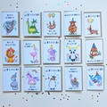 Party Animal Hand Drawn Cards - 15 Birthday / Celebration Designs for Kids