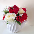 Mothers Day Gift - Teapot with Red & Cream Silk Roses - Flower Arrangement
