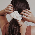 The Minimalist Pale Apricot Scrunchie - Regular size Upcycled Chiffon Hair Tie