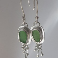 Sterling Silver, Fine Silver and Sea Glass Earrings