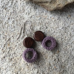 Purple Lava Stone, Wood, Sterling Silver, dangle earring