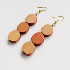 Wooden Beaded Neutral Blush Earrings