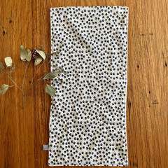 burp cloth - paw prints / organic cotton hemp / eco friendly / black white