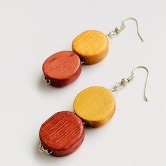Wooden Beaded Yellow and Pink Earrings
