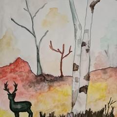 Original watercolour ruska autumm Finland
