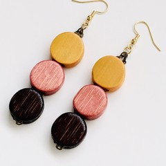 Wooden Beaded Yellow, Pink and Brown Earrings