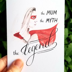 Mother's Day Card A6 - Super Hero - Calligraphy and Watercolour Print