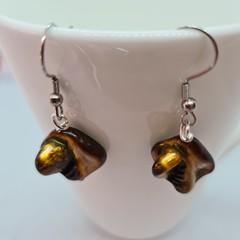 Earring and bracelet set - gold/green shell beads