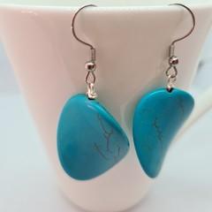 Simple turquoise blue earrings