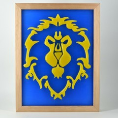 World of Warcraft Banner Flag Alliance Wax Painting Light Box