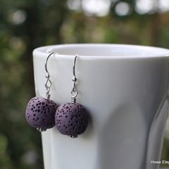 Purple Lava Stone, Sterling Silver, dangle earring