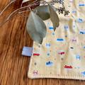 wash cloth - vw kombi vans / organic cotton and hemp fleece / pastel yellow blue