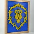 World of Warcraft Banner WOW Alliance Symbol Emblem Guild Wax Painting Light Box