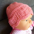 Baby girl's lacy beanie with bow hairclip; 3 - 6 months;  4-ply wool