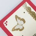 Birthday Card - Red with Butterflies and Lace Print Washi