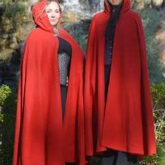 Medium Length Bright Red Wool Blend Cloak