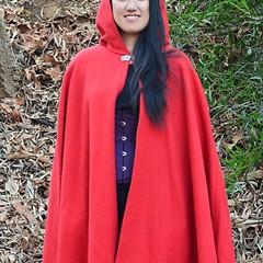 Short Bright Red Wool Blend Cloak
