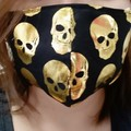 Homemade Cotton Face Mask W/Pocket for Filter (Filter NOT included) gold skull