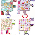 Taggy Snuggly Tag Toy Mini BABY Comforter .  20 designs to choose from
