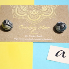 Black, White, Silver and Pink Marbled Sphere Ball Earrings - Polymer Clay