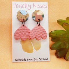 Pastel Patchwork - 18mm circle top and baby pink flower drop