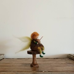 Needlefelted mushroomfairy. Wool pixie. Waldorf inspired toadstool fairy.