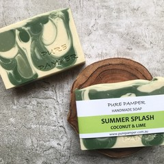 Handmade Soap - Summer Splash (coconut & lime) | Vegan | Best Seller