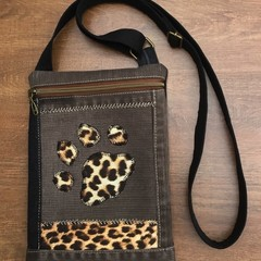 Brown/Black Upcycled denim bag - Leopard print