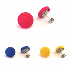 Mini Stud Earrings - Royal Blue, Yellow and Shocking Pink