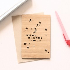 Love You To The Moon & Back Card, Bamboo, Anniversary Card, Birthday Card, Love
