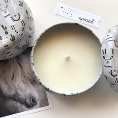 1 free soap included: llama soy candle - Vanilla & Caramel