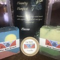 Gift Set with 2 hand made soaps 1 lip balm and 1 body scrub