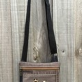 Brown/Black Upcycled denim bag - Leopard print