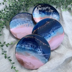Sunset Ocean Inspired Resin Coasters - Set of 4
