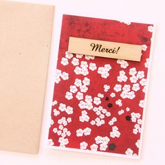 Merci Thank You Card | Red Blossoms with Wooden Accent | Gratitude Appreciation