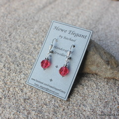 Watermelon Swarovski crystals with grey, Sterling Silver, dangle earring