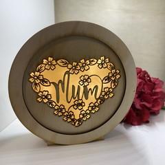 Mum Heart Round Lightbox